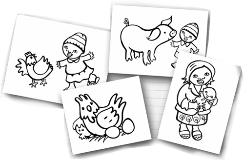 Colouring pages resources by Susie Poole