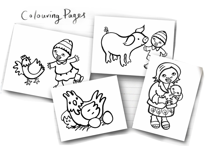 Colouring pages by Susie Poole